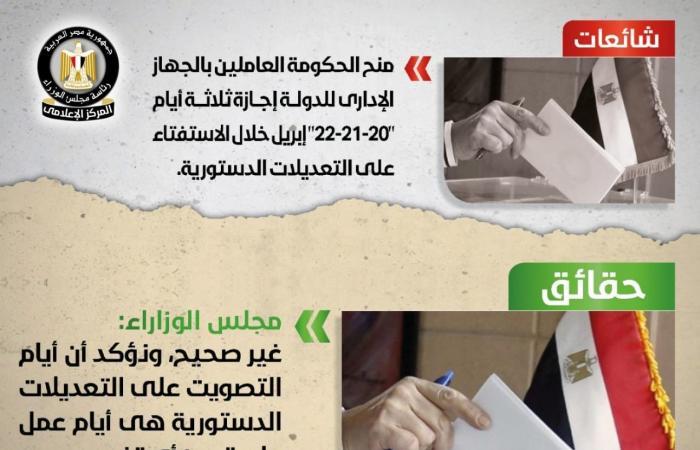 الحكومة: لا صحة لمنح إجازة 3 أيام لجميع العاملين بالدولة خلال الاستفتاءات الدستورية