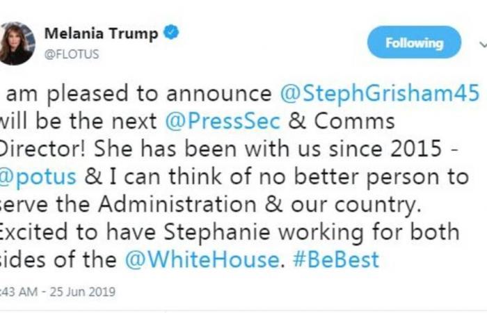 اختيار المتحدثة باسم ميلانيا ترامب سكرتيرة صحفية للبيت الأبيض
