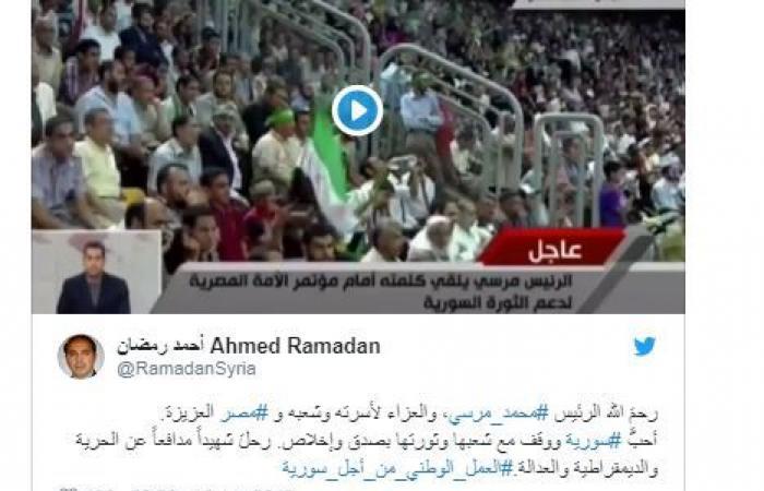"""""""#لبيك_يا_سوريا"""".. هكذا تذكّر السوريون الرئيس محمد مرسي"""