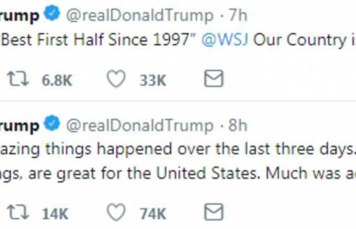ترامب: حققنا الكثير من الأمور الرائعة خلال الأيام الماضية