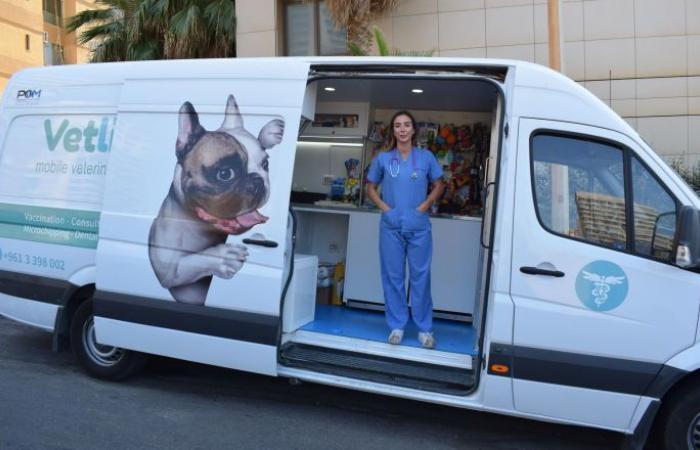 طبيبة بيطرية لبنانية تقود حافلة عيادة متنقلة وتسعف الحيوانات (صوروفيديو)