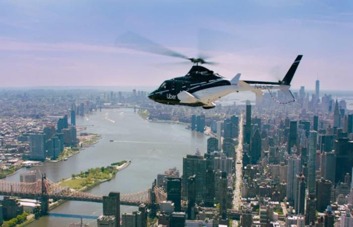 أوبر تتيح رحلات طائرات الهليكوبتر لجميع العملاء