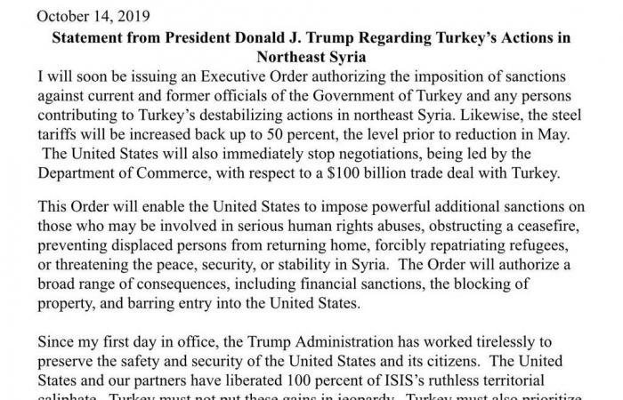 ترامب يعتزم زيادة التعريفات على واردات الصلب من تركيا لـ50%
