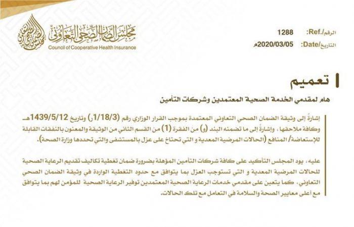 """مجلس الضمان الصحي بالسعودية يوجه تعميما لمقدمي الخدمة بسبب """"كورونا"""""""