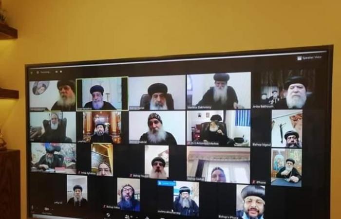 """البابا تواضروس يلتقي مطارنة وأساقفة الصعيد عبر """"فيديو كونفرانس"""""""