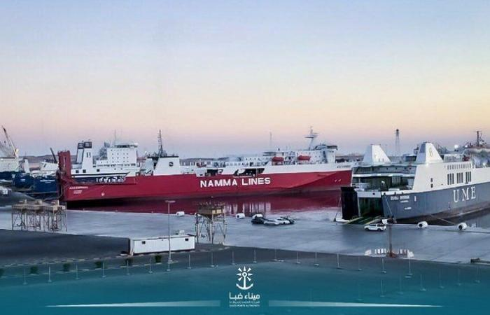شاهد.. ميناء ضبا يستقبل 6 سفن في آن واحد