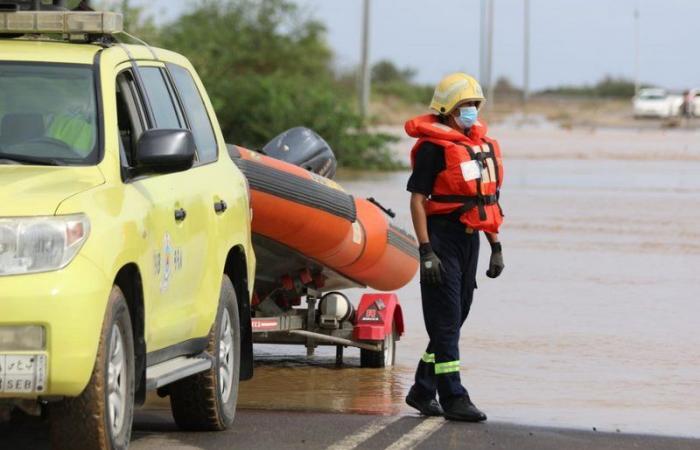 الدفاع المدني يباشر عددًا من الحالات الناتجة عن الحالة المطرية ويرفع درجة الجاهزية في بعض المناطق
