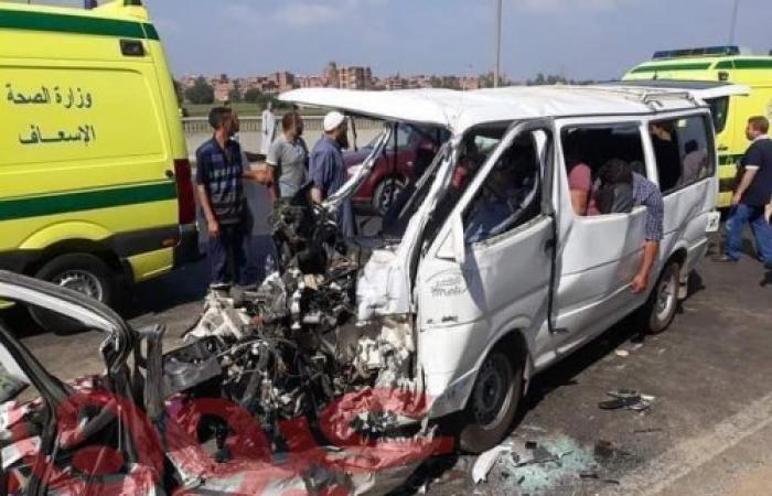 مصرع 9 أشخاص وإصابة 7 أخرون في حادث تصادم ببنها