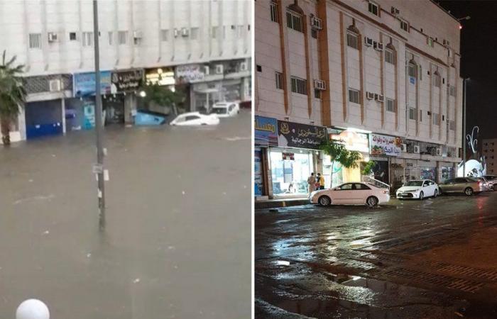 شاهد .. شبكات التصريف تعالج ارتفاع منسوب مياه الأمطار بالطائف