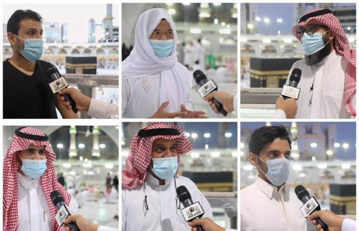 فيديو.. شاهد مشاعر الفرح والسرور على المصلين بعد عودة الصلاة بالمسجد الحرام