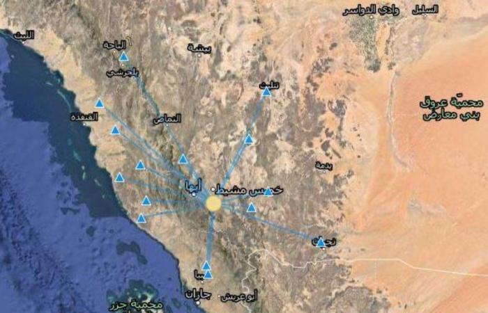 رصدت محطات الشبكة الوطنية بالمركز الوطني للزلازل والبراكين #بهيئةالمساحةالجيولوجية_السعودية اليوم الساعة ٥٦: ١٤ هزة أرضية بقوة ٣.١ على مقياس ريختر وعمق ٢.٥ كيلومتر وتبعد ١٠ كيلو متر جنوب خميس مشيط