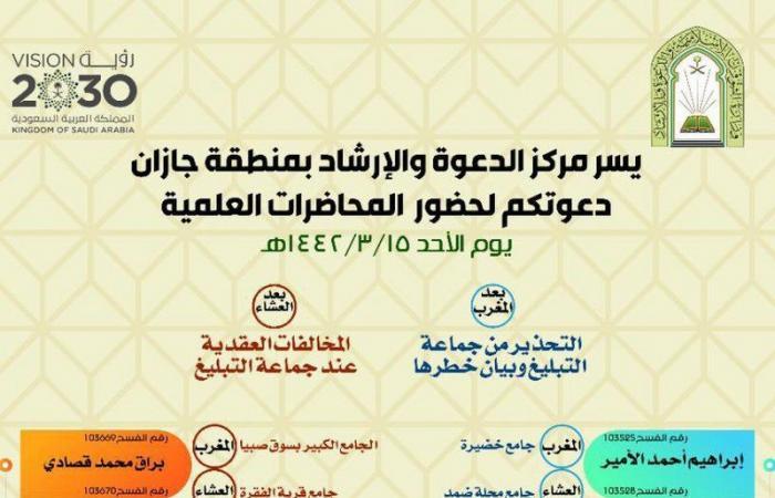 """""""إسلامية جازان"""" تُنفذ 10 محاضرات للتحذير من جماعة التبليغ وبيان خطرها"""