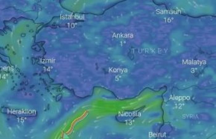 """""""الأرصاد الجوية"""" التيارات الهوائية مازالت مستمرة مع فرص سقوط أمطار"""