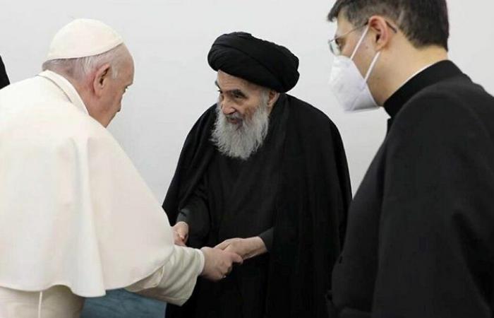 """عن لقائه بـ""""السيستاني"""".. بابا الفاتيكان: كان من الضروري المجازفة في العلاقات بين الأديان"""