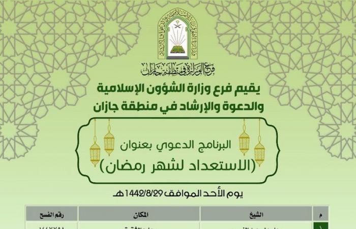 """""""الشؤون الإسلامية"""" تُنهي استعداداتها لشهر رمضان لعام 1442هـ"""