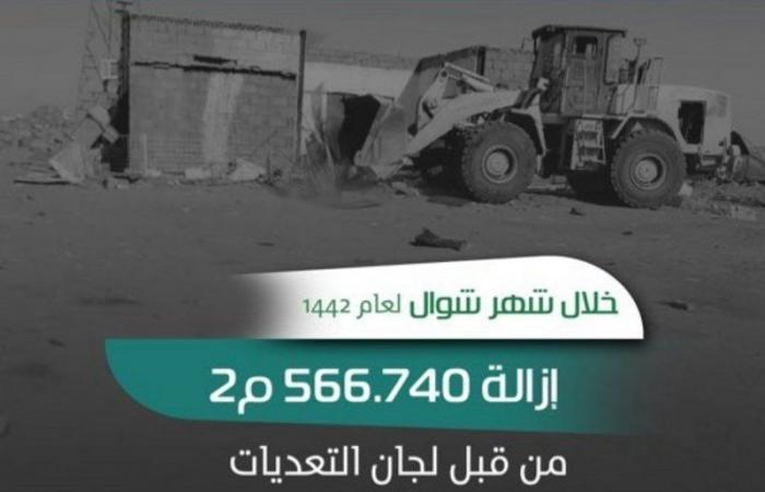 حائل.. إزالة أكثر من 566 ألف متر مربع من التعديات على أراضٍ حكومية