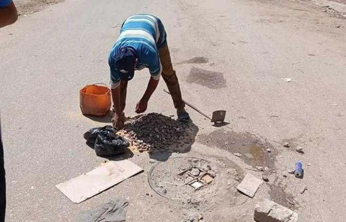 حملات للنظافة ورفع الإشغالات من الشوارع وإزالة التعديات في مدينة الحامول