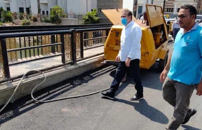 محافظ المنوفية يتفقد أعمال التطوير بكوبري مبارك وعمر أفندي