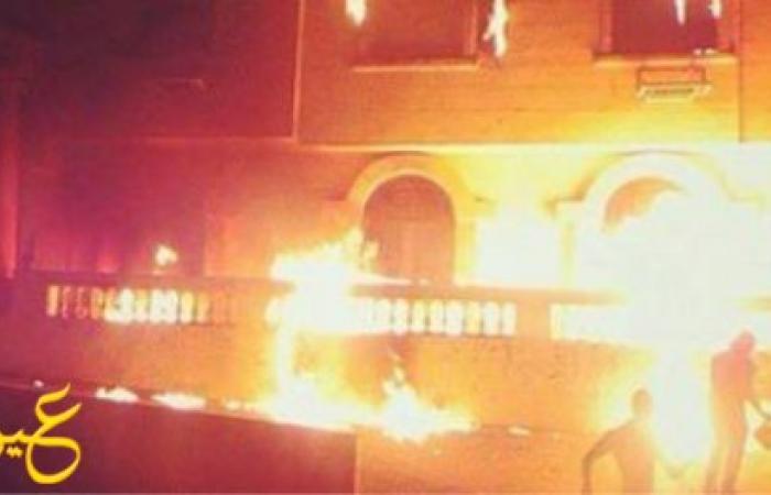 رواد فيس بوك يتداولون صورة لحريق مقر حى المعادى.. ويؤكدون:الإخوان حرقوه