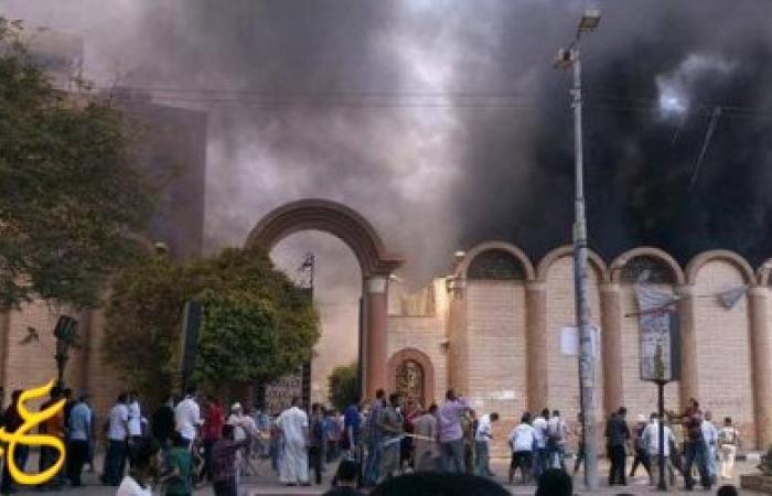 عاجل : حريق هائل داخل كنيسة مارجرجس بميت غمر في الدقهلية