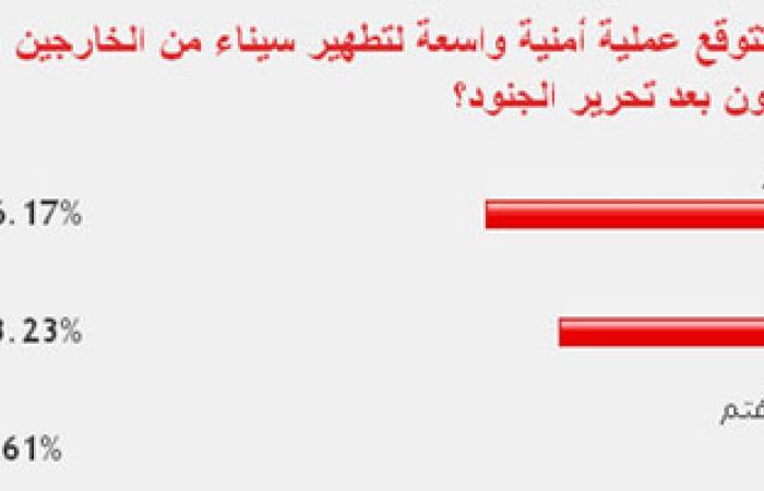 56.17% من القراء يتوقعون حملة أمنية واسعة لتطهير سيناء من المجرمين