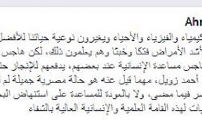 السيد النجار: زويل ضحية غباء البيروقراطية المصرية