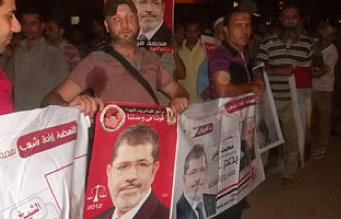 """سلاسل بشرية لشباب التيار الإسلامى بـ""""طامية"""" لتأييد مرسى"""
