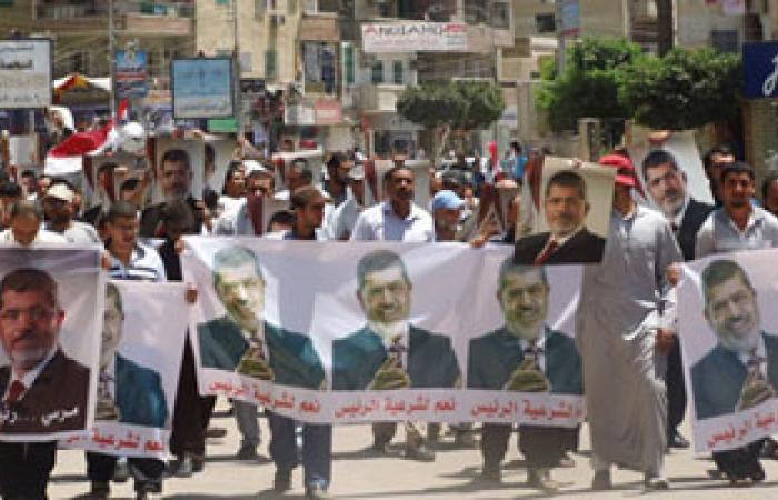 مسيرة لجماعة الإخوان بقرية شطورة لتأييد الرئيس المعزول
