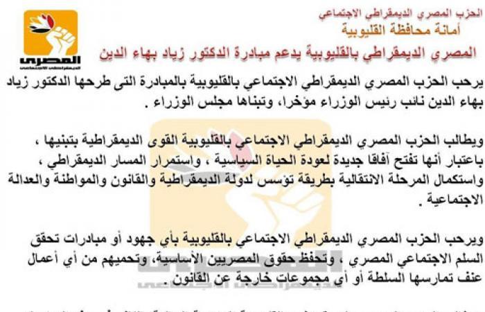 """المصرى الديمقراطى بالقليوبية يدعم مبادرة """"بهاء الدين"""" لحل الأزمة"""