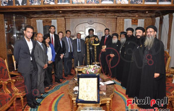 """بالصور."""".البابا""""يستقبل مستشار الرئيس ووزراء ودبلوماسيين بالكاتدرائية"""