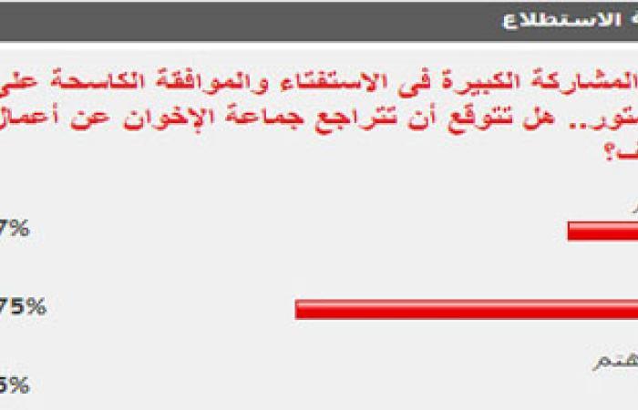75% من القراء يتوقعون عدم تراجع الإخوان عن أعمال العنف بعد نجاح الاستفتاء