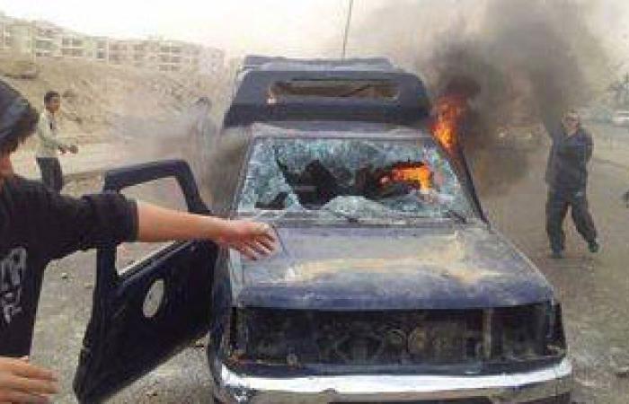 ننشر صورة سيارة الشرطة التى أحرقها الإخوان بالشيخ زايد