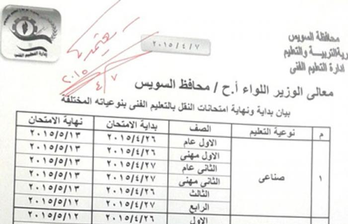 26 أبريل بدء امتحانات التعليم الفنى بمحافظة السويس