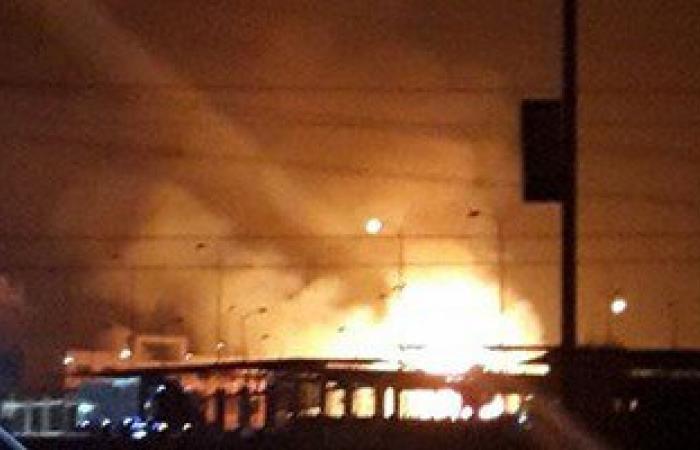بالفيديو..حريق هائل فى سوق الخضار بمدينة 6 أكتوبر