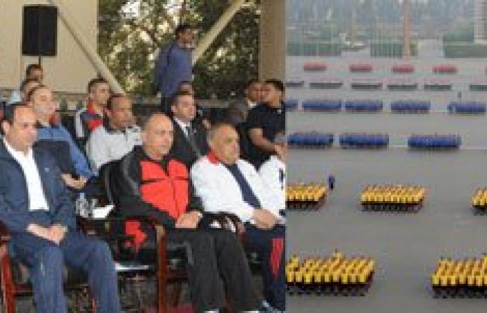 شاهد صور الرئيس السيسى مرتديا الزى الرياضى مع طلبة الكلية الحربية