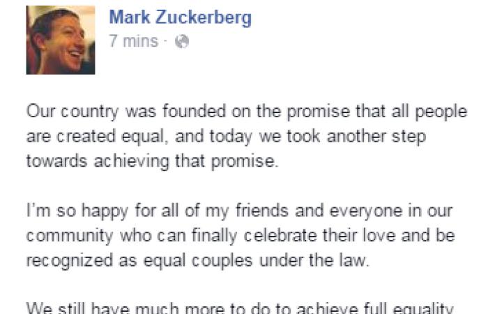 """مارك زوكربيرج مؤسس """"فيس بوك"""" يحتفل بتقنين زواج المثليين فى أمريكا"""