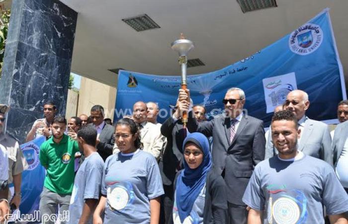 انطلاق شعلة أسبوع شباب الجامعات من محافظة قنا