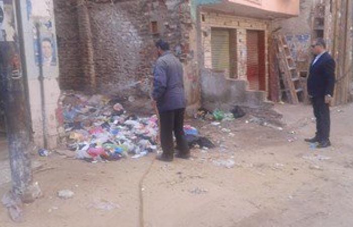 بالصور..رش القمامة بالمبيدات لمحاربة الذباب فى الغربية