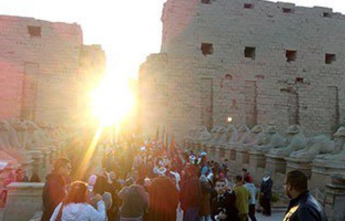 """بالصور.. """"اليوم السابع"""" يرصد تعامد الشمس على """"قدس الأقداس"""" بمعبد الكرنك"""