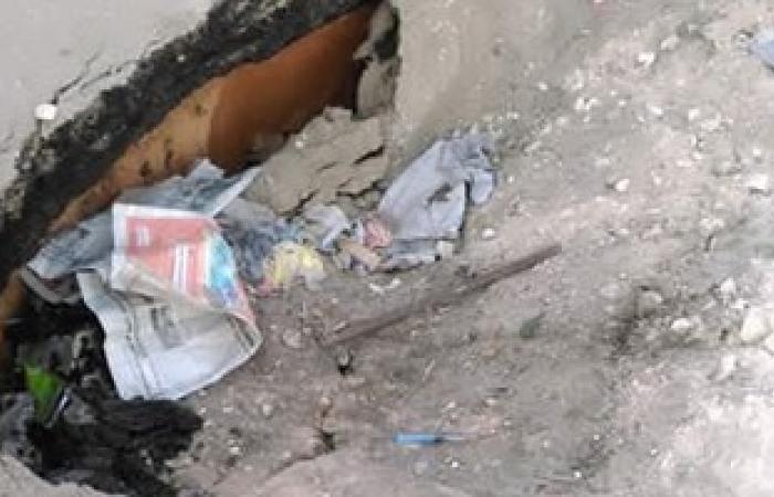هبوط أرضى بمنطقة شارع عبد السلام عارف فى المنصورة وتعطيل حركة السير