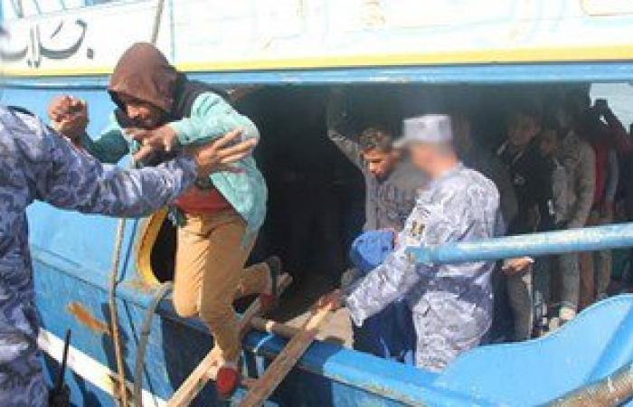 بالصور..القوات البحرية تحبط محاولة هجرة غير شرعية لـ(14) مصريا شمال رشيد
