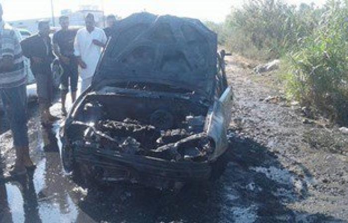 بالصور.. تفحم سائق سيارة ملاكى وإصابة 2 آخرين بحادث تصادم بالبحيرة