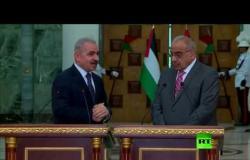 استقبال رئيس وزراء العراقي عادل عبد المهدي لنظيره الفلسطيني محمد اشتية