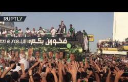 استقبال جماهيري حافل لأبطال المنتخب الجزائري بعد عودته متوجا بالكأس الإفريقية