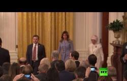 شاهد.. زوجة أردوغان تحضر مؤتمر صحفي للرئيس التركي والأمريكي مع ميلانيا ترامب