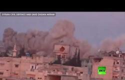 شاهد.. الجيش السوري يقصف مواقع المسلحين في معرة النعمان