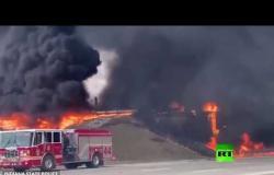 انفجار صهريج ينقل وقود النفاثات في إحدى الطرق السريعة الأمريكية