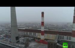 لقطات جوية لتفجير أنبوب في محطة توليد الكهرباء بروسيا