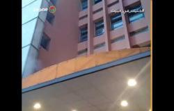لحظة اندلاع حريق دخل مخزن مستلزمات طبية في مستشفى بالإسكندرية