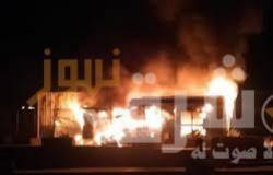حريق هائل في محل زيوت سيارات بشارع البحر الأعظم